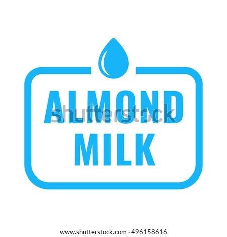Almond milk logo, icon. Flat vector illustration on white background. Can be used business company for eco, organic, bio theme.