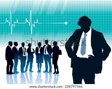 Alone man standing in front of big cardiogram with heartbeat - stock vector