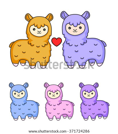 Alpacas in love. Lama. A collection of colorful illustrations. Lovely toy animals.  - stock vector