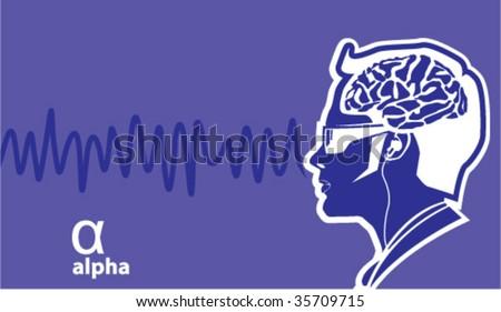 Alpha Brainwave frequencies - stock vector