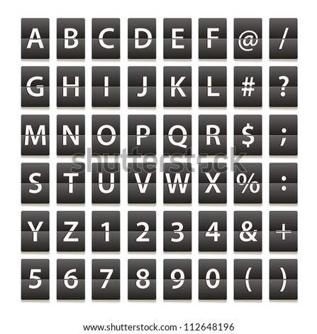 Alphabet and digits isolated on white - stock vector