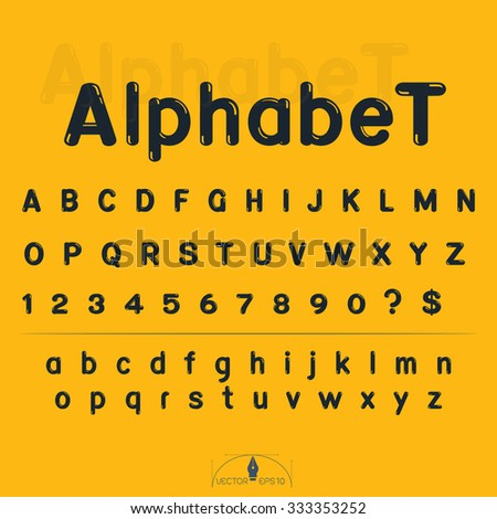 alphabet and number on yellow background vector illustration - stock vector