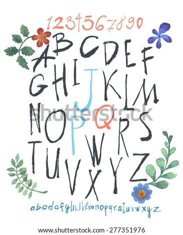 alphabet and numbers hand drawn in vector  Handwritten alphabet with watercolor flowers. - stock vector