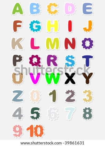 Alphabet and numbers vector illustration