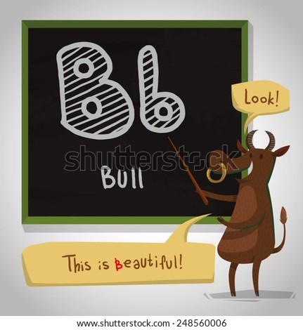 Alphabet Animal, Bull, vector - stock vector