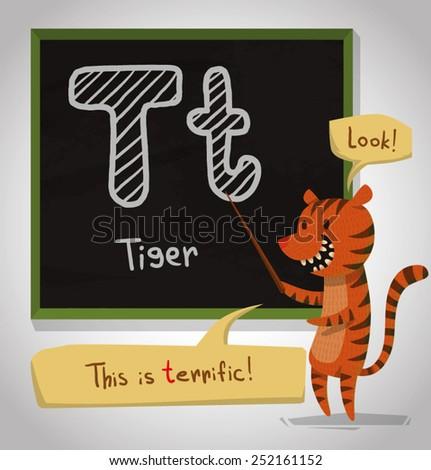 Alphabet Animal, Tiger, vector - stock vector