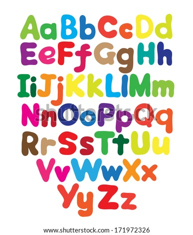 Alphabet bubble colored hand drawing in white background - stock vector