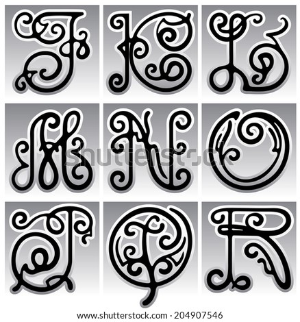 Alphabet Calligraphy, twisted, floral letters executed in black and white. Vector illustration.
