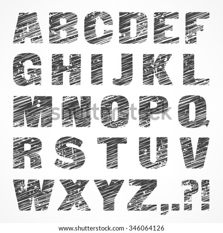 Alphabet caps sketch letters in grey color on white, vector illustration - stock vector