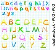 alphabet - collection of colored letters for kids - stock vector