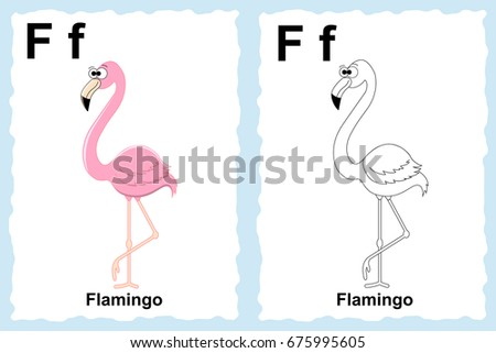 Alphabet Coloring Book Page With Outline Clip Art To Color Letter F Flamingo