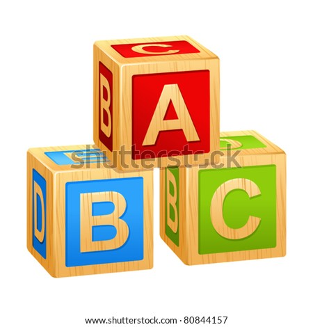 alphabet cubes with letters A,B,C - stock vector