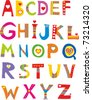 Alphabet design in a colorful style. - stock photo