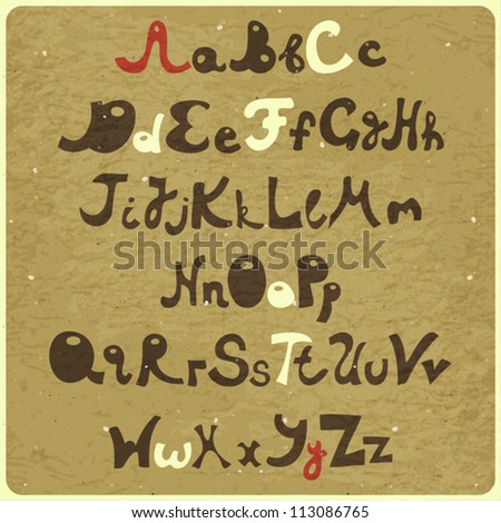 Alphabet Design In Doodle Style Letters A Z