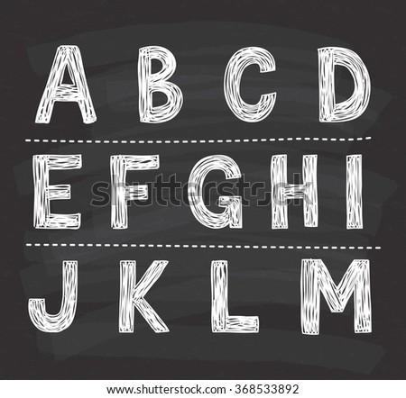 alphabet doodle on chalkboard background - stock vector