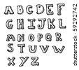 alphabet drawing - stock vector