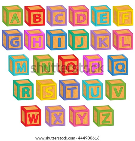 alphabet english blocks - vector illustration, eps