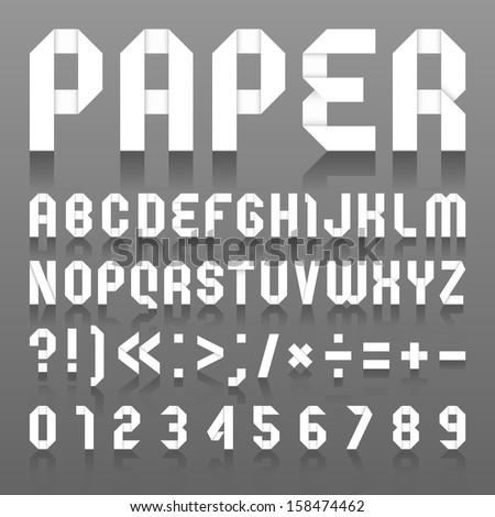 Alphabet folded of paper. Roman alphabet (A, B, C, D, E, F, G, H, I, J, K, L, M, N, O, P, Q, R, S, T, U, V, W, X, Y, Z) and Arabic numerals (0, 1, 2, 3, 4, 5, 6, 7, 8, 9). - stock vector
