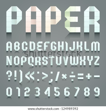 Alphabet folded of toilet blue paper. Roman alphabet & Arabic blue numerals (A, B, C, D, E, F, G, H, I, J, K, L, M, N, O, P, Q, R, S, T, U, V, W, X, Y, Z, 0, 1, 2, 3, 4, 5, 6, 7, 8, 9). - stock vector