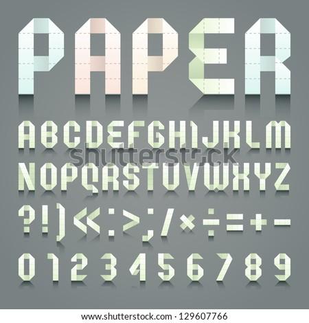 Alphabet folded of toilet green paper. Roman alphabet & Arabic blue numerals (A, B, C, D, E, F, G, H, I, J, K, L, M, N, O, P, Q, R, S, T, U, V, W, X, Y, Z, 0, 1, 2, 3, 4, 5, 6, 7, 8, 9). - stock vector