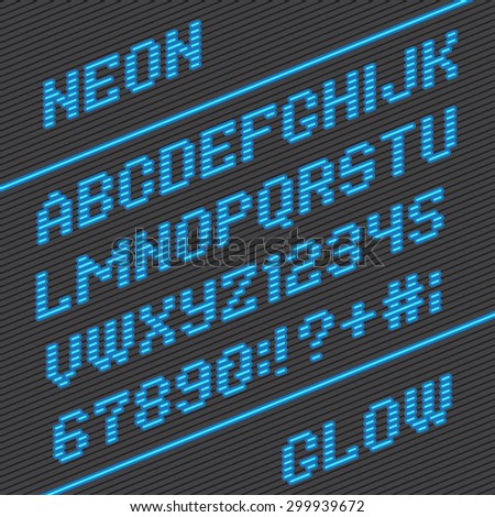 Alphabet font and numbers from neon stripe lines - stock vector