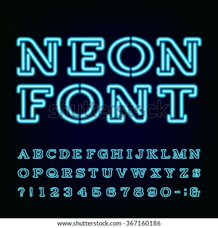 Alphabet Font. Blue neon light effect letters and numbers on the dark background. Vector typography for labels, titles, posters etc.