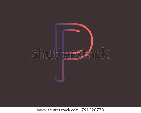 Alphabet Font Letter P Vector Modern Dynamic Flat Design With Brilliant Colorful Gradient Smooth Color