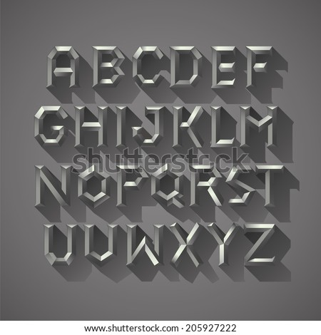 Alphabet font Silver metal Block of Ancient Greece Letters - stock vector