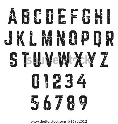 alphabet font template letters broken numbersのベクター画像素材