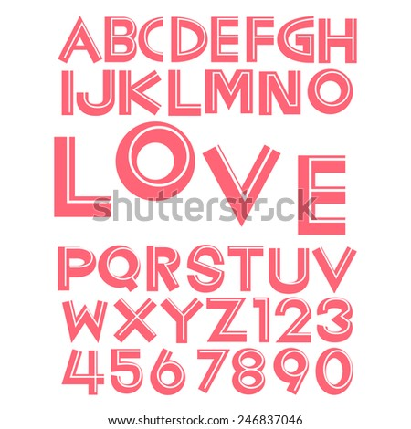 Alphabet fonts and numbers for valentine illustration eps 10 - stock vector