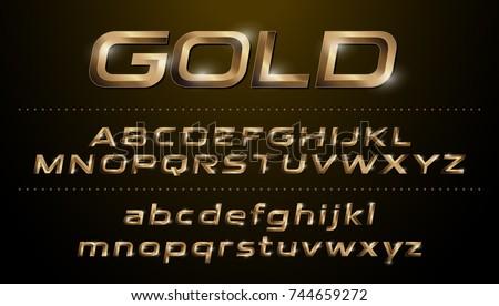 Alphabet Fonts Metallic Golden Effect Italic Letters On A Dark Background Vector