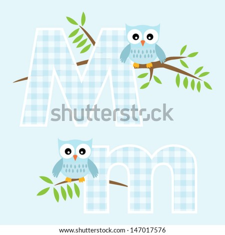 Alphabet for baby boy with owl vector letters M,m.Vector eps10 , illustration.