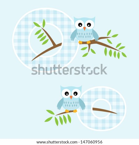 Alphabet for baby boy with owl vector letters O,o.Vector eps10 , illustration.