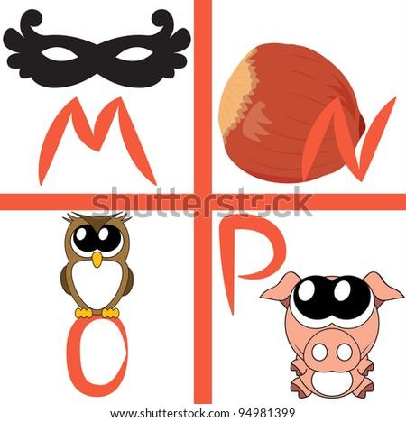 Alphabet for kids, letters m-p, vector illustration - stock vector