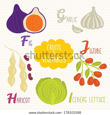 fruits that start with the letter a alphabet fruits vegetables letters f stock vector 45075