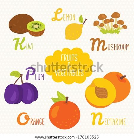 Alphabet Kids Fruits Ve ables Letters K Stock Vector