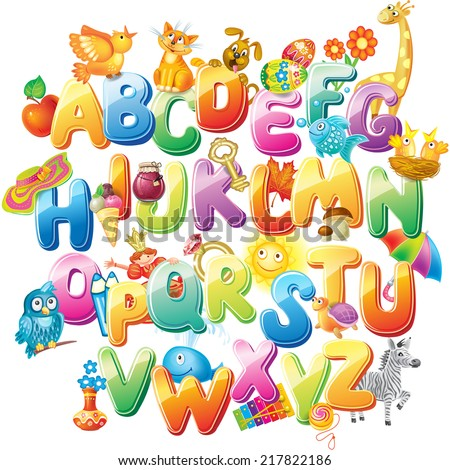 Alphabet for kids with pictures - stock vector