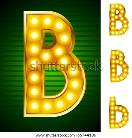 Alphabet for signs with lamps. Letter b
