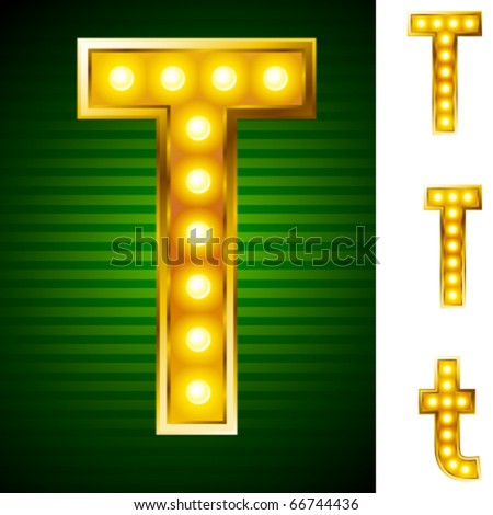Alphabet for signs with lamps. Letter t