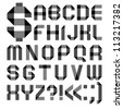 Alphabet from a paper transparent tape - Roman alphabet (A, B, C, D, E, F, G, H, I, J, K, L, M, N, O, P, Q, R, S, T, U, V, W, X, Y, Z) - stock photo