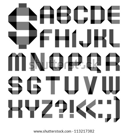 Alphabet from a paper transparent tape - Roman alphabet (A, B, C, D, E, F, G, H, I, J, K, L, M, N, O, P, Q, R, S, T, U, V, W, X, Y, Z) - stock vector