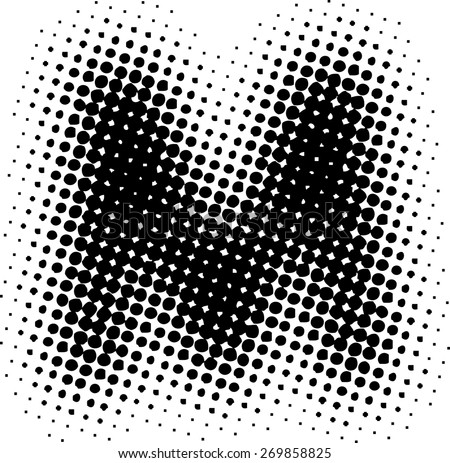 Alphabet Grunge Font Style Letter M Made From Halftone