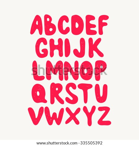 alphabet hand drawn letters isolated on white background colorful vector illustration design elements