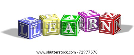 Alphabet letter blocks forming the word learn - stock vector