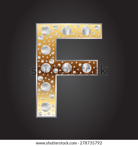 Alphabet letter F with diamonds.Abstract logo F.Vector illustration. - stock vector