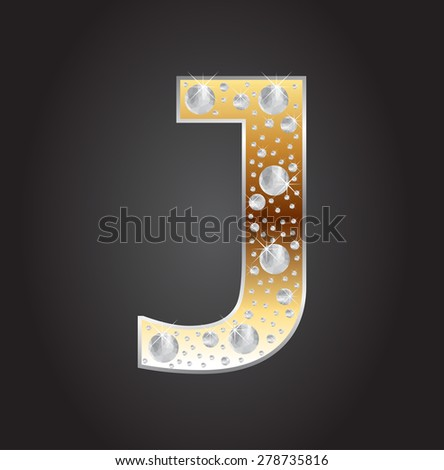 Alphabet letter J with diamonds.Abstract logo J.Vector illustration. - stock vector