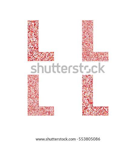 Letter K Alphabet Heart Flower Petals Stock Vector