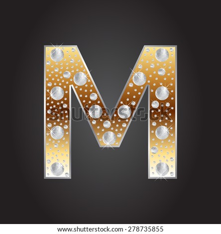 Alphabet Letter M With DiamondsAbstract Logo MVector Illustration