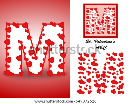 Alphabet Letter M With Red Heart Valentine Day Valentines Of Hearts