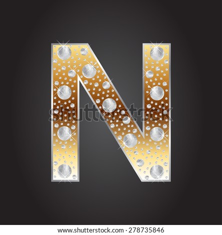 Alphabet letter N with diamonds.Abstract logo N.Vector illustration. - stock vector